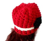 Red beanie, crochet hat, Holiday Accessories, Christmas, Halloween, gift, women Hat