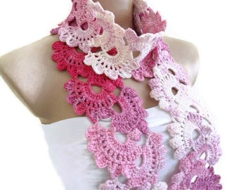 Crocheted Pink and white Bamboo Lace Neckwarmer,scarf,fashion,gift, valentine, winter trends, fashion, 2014
