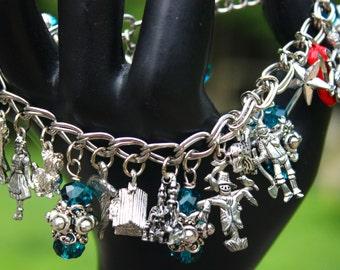 Wizard Charm Bracelet - Scarecrow - Tinman - Munchkins - Lollipop - Red Slippers - Dorothy - Literary Jewellery - Witch Jewelry