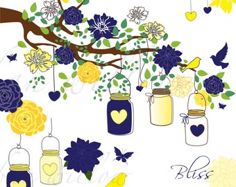 BLISS - Lemon & Navy, 24 piece clip art set in premium quality 300 dpi, Png and Jpeg files.