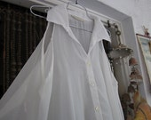 RESERVED for B. -  Asymmetric Cold Shoulder Semi Sheer White Blouse, Allowing Partly Bare Shoulders, Vintage - Large