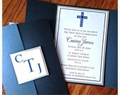 Ornamental Cross Boy Baptism-Communion Gate Fold Invitation--PRIVATE LISTING
