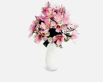 Pink Silk Floral Arrangement In A White Vase