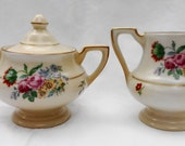 RESERVED Fraunfelter Royal Rochester China Hand Painted Floral Art Deco Creamer And Sugar