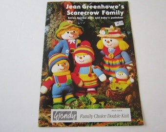 Jean Greenhowe's Scarecrow Family 7 Knitted Dolls and Baby's Pushchair Knitting Patterns