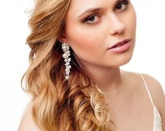 Vintage style handcrafted long pearls earrings. Bridal art décor drop flower earrings.  Rhinestone wedding earrings. Vintage wedding pearls.