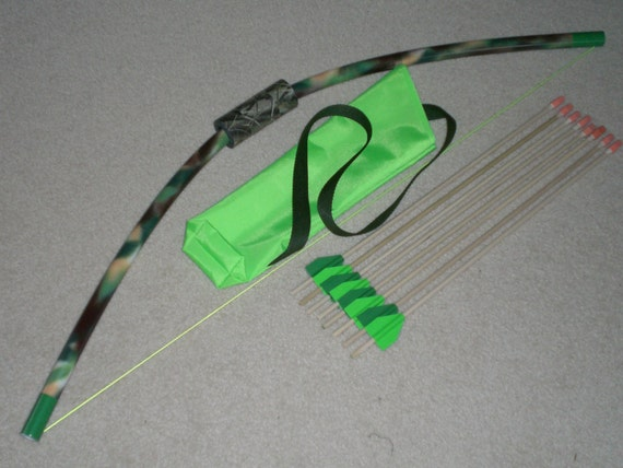 Camouflage 38 toy bow quiver and 8 arrows outdoor for Kids pvc bow