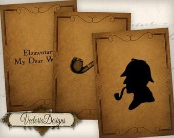 Sherlock Holmes ATC vintage images detective digital background instant download printable collage sheet VD0476