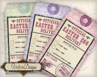 Easter Egg Delivery Tags Packing Slip printable gift tags instant download digital Collage Sheet VD0656