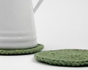 Trivet-Hot Pad-Pot Holder Sage Green Crochet Cotton Set of 2