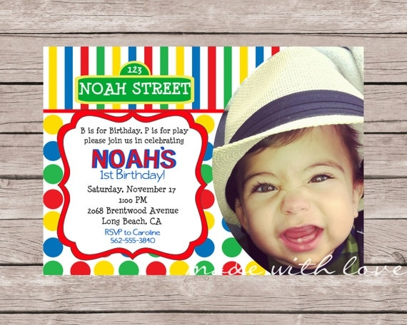 Colorful Kids Birthday Invitation(with photo) inspired by Sesame Street, personalized and printable, 5x7