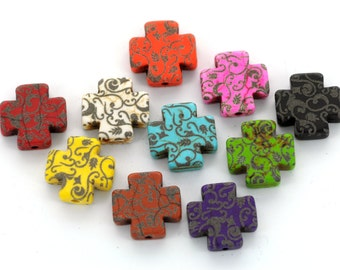 10 Laser Engraved Howlite Maltese Cross Beads, 15mm, mix and match, you choose colors LAS0005