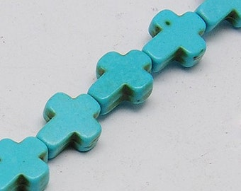 1 Strand, Mini Stone Cross Beads in TURQUOISE BLUE 10mm x 8mm how0066