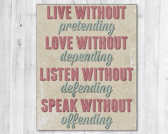 Live Love Listen Speak Inspirational Typography Print