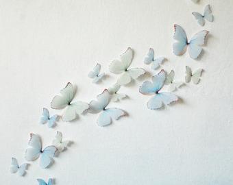 3D Wall Butterflies Princess Blue and Greens- Set of 20