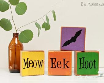 Halloween Decoration, Halloween Wood Blocks - Set of 4