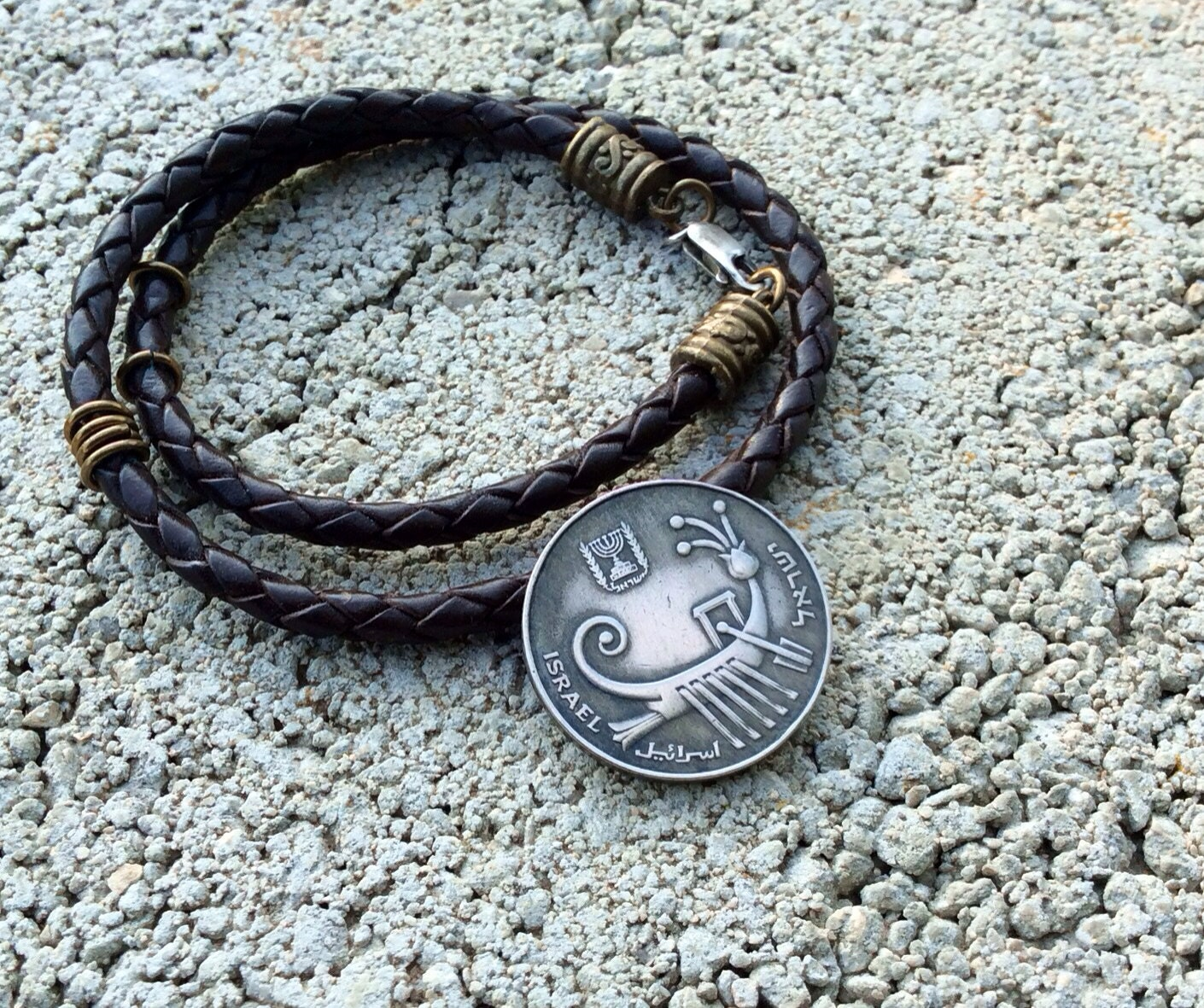 Adventure Leather Bracelet, 10 Israeli sheqel, Antique Boat, coin Jewellery, bible symbol, Jewish symbols,  one of a kind, gift ideas