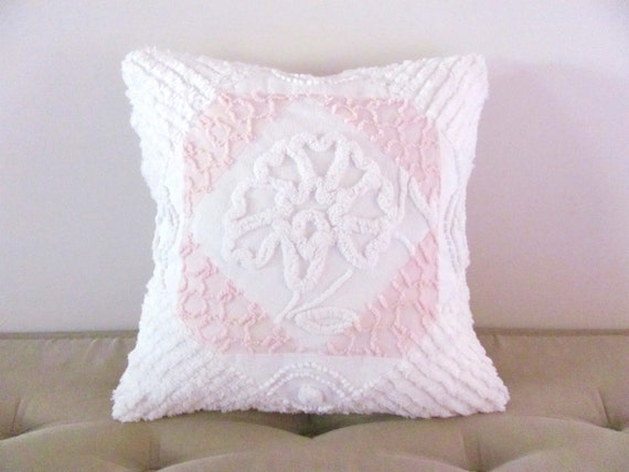 pink pillow cover WHITE PEONY 16 X 16 pink vintage chenille cushion cover cottage chic shabby style