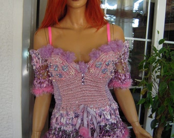 MADE TO ORDER Handmade crochet Cinderella's top/sweater/pale pink lilac fairy tale wedding top/embelished with organza flowers by goldenyarn