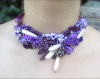 Wedding necklace Purple and pearls vintage handmade accessory