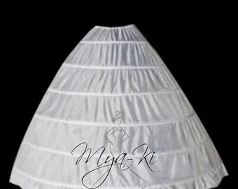 Bridal Prom quinceanera ball gown 6 hoops underskirt Slip skirt WHITE