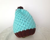 Slouchy knitted hat, baby hat, blue beanie, cotton baby hat - TinyLoveGifts