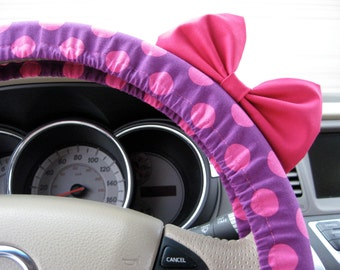 Steering Wheel Cover Bow, Large Purple and Pink Polka Dot Steering Wheel Cover with Hot Pink Bow BF11164