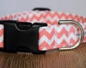 Peach Chevron Dog Collar - Custom Dog Collar - Boy Dog Collar - Girl Dog Collar - Chevron Dog Collar - Adjustable Dog Collar