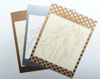 Horse Lovers Stamped Greeting Card Set of 3