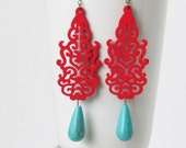 Red Earrings Red Jewelry Turquoise Earrings Women Jewelry Gift Statement Earrings Chandelier Earrings Wood Earrings Bridesmaid Earrings
