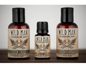 Mens SHAVING Gift Set Wild Man Grooming Kit - After Shave, Soap and Serum