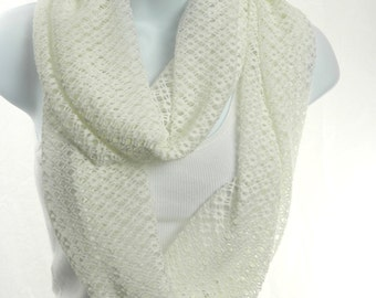 Creamy White Lace Infinity Scarf Open Weave Knit Lace Boho Fashion Scarf by Thimbledoodle