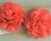 "Coral Soft Petal Rose Flowers Flowers (2 pieces) 3"" Chiffon flower Wholesale Flowers Headband Flowers Fabric Flower Sara embellishment"