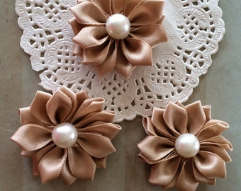 """Small Beige Tan Fabric Flowers ( 6 pcs) - Sweetheart 1.5""""  Satin flowers with pearl centers flower embellishment accent applique flowers"""