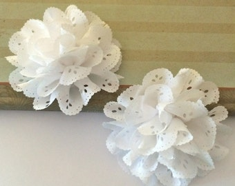 "set of 2 Eyelet lace Chiffon Flowers white lace flowers  3"" soft fabric flowers hair flower headband flowers DIY flowers brooch Teri Blossom"