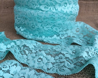 "Aqua Lace Elastic 3"" Lace Stretch Elastic 7.8cm wide Aqua Lace elastic trim baby headband lace elastic garter lingerie 3, 5, OR 10 yards"