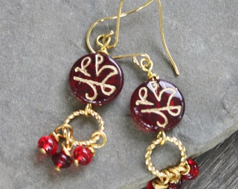 Czech Bead Earrings - Bright Brass, red earrings, czech earrings, boho earrings, gypsy earrings, gold earrings, under 20, red and gold