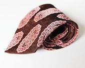 Vintage Neck Tie- Men's Neck Tie Brown and Pink Gift for Him Men's Accessories