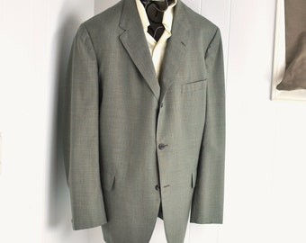 Mens Blazer Jacket 46 Extra Long Sage Green Plaid Big Tall Man 1960's Short Narrow Lapel 3/2 Suit Coat