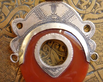 Niger silver (tested) Tuareg agate scarab hand engraved pendant necklace with red tie