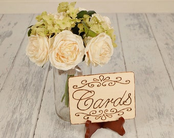 Rustic Cards Sign WITH Easel