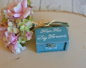 Rustic Wedding Ring Box Keepsake or Ring Bearer Box-From This Day Forward- Comes With Burlap Pillow. Ships Quickly.