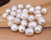 8PCS  Large Hole 3mm 10mmx11mm White Baroque Freshwater Pearl Beads Gemstone Beads Loose  freshwater pearl