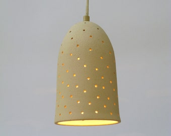 Stoneware Bell with square holes, Hanging lamp
