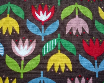 Big tulip, on brown, fat quarter, pure cotton canvas fabric