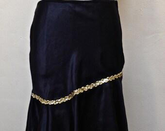 SALE-Black Satin Asymmetrical Skirt GOLD SEQUIN/Flounce Skirt/Burlesque/Metallic Gold Sequins/Dance Costume/Shiny Satin/Slinky Satin - 5/6