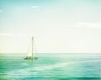 "Sailboat Photography - ocean sea seascape photo blue mint green teal aqua white nautical print, 11x14, 8x10 Photograph, ""My Home is the Sea"""