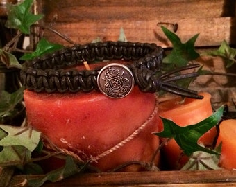 50% OFF Leather bracelet macrame cobra knot with a button clasp