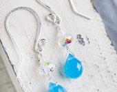 Blue Swarovski Earrings, Blue, Swarovski Earrings, Sterling Silver, Blue Earrings, Sparkling Earrings, Chalcedony Earrings