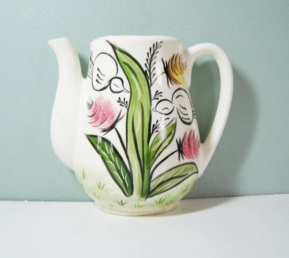 Vintage Tea Pot Wall Pocket Vase Cottage Chic By LorettasCache